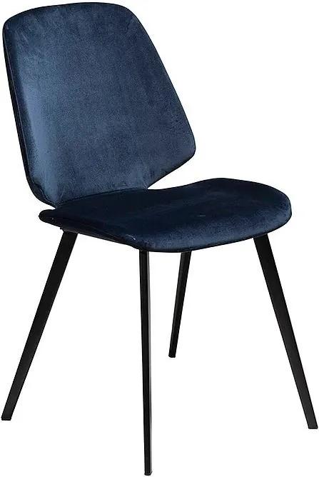 Scaun dining albastru din catifea Swing Midnight Blue Dan Form