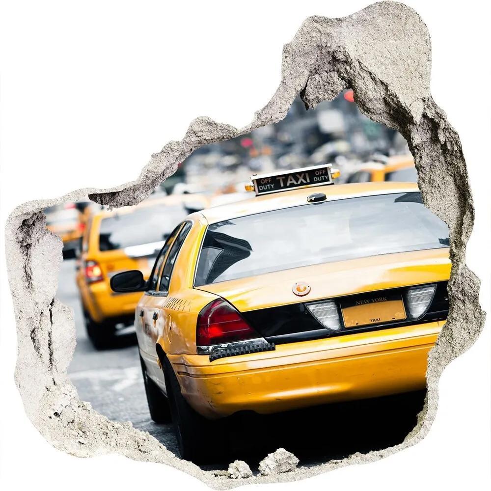 Fototapet 3D gaură în perete New York taxiuri