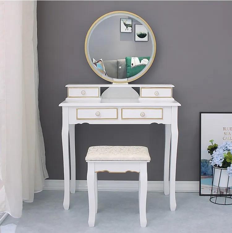 Set Bianca, Masă de toaletă pentru machiaj cu oglindă iluminată LED, 4 sertare, scaun, Alb