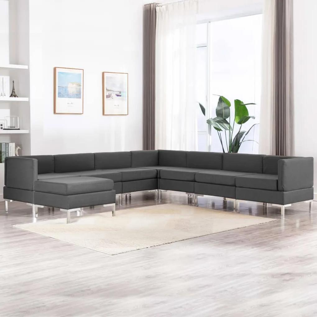 3052850 vidaXL Set canapea, 8 piese, gri închis, material textil