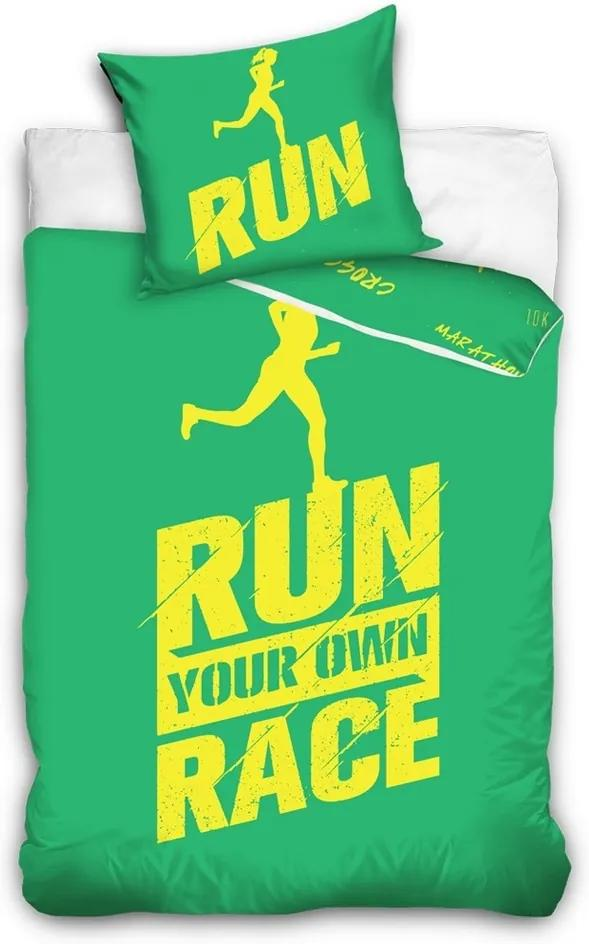 Lenjerie pat 1 pers. Run, bumbac percale, verde, 140 x 200 cm, 70 x 90 cm