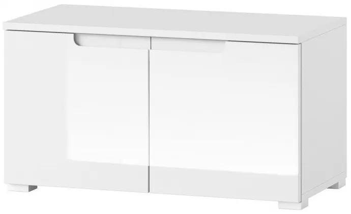 Cabinet din pal si MDF cu 2 usi Small Gabrielle 18 Alb, l79xA40xH43 cm