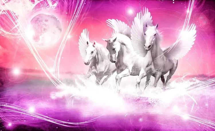 Winged Horse Pegasus Pink Fototapet, (312 x 219 cm)