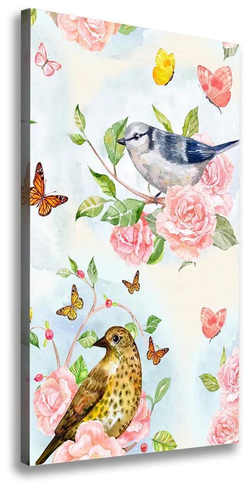 Print pe pânză Păsări flori fluturi