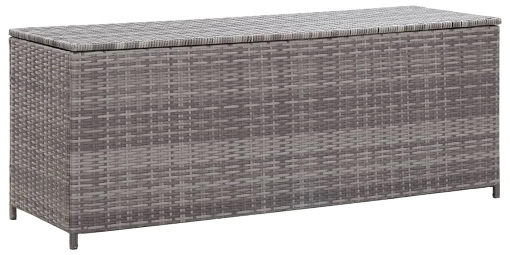 46460 vidaXL Ladă de depozitare de grădină, gri, 120 x 50 x 60 cm, poliratan