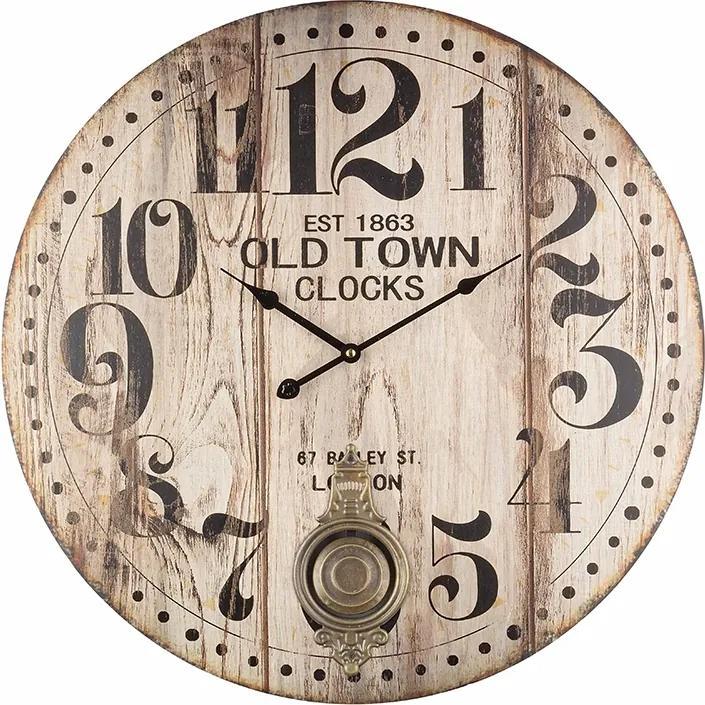 Ceas de perete cu pendul lemn model Old Town 6 cm x ø 58 cm