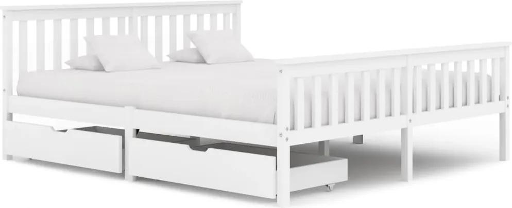 3060428 vidaXL Cadru de pat cu 2 sertare, alb, 180 x 200 cm, lemn masiv pin