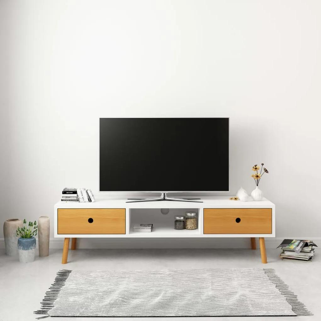 285220 vidaXL Comodă TV, alb, 120 x 35 x 35 cm, lemn masiv de pin