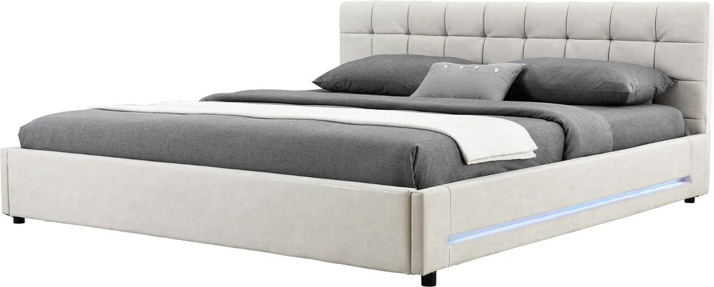 Corium® [my.bed] Pat frantuzesc elegant cu iluminare cu LED - matlasat - 140x200cm (Partea capului: imitatie de piele Wild ecru Rama: imitatie de piele Wild ecru) - cu rama pat