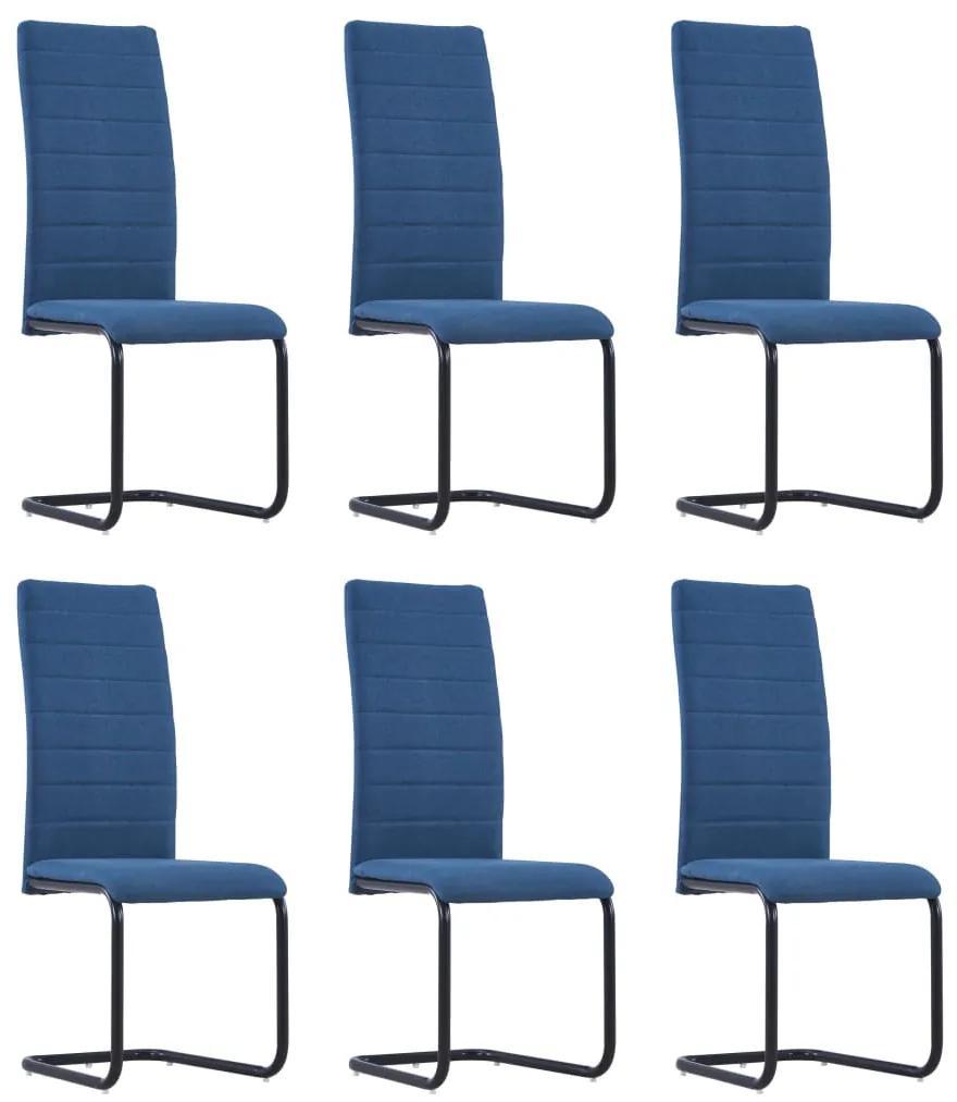 279306 vidaXL Scaune de bucătărie consolă, 6 buc., albastru, material textil