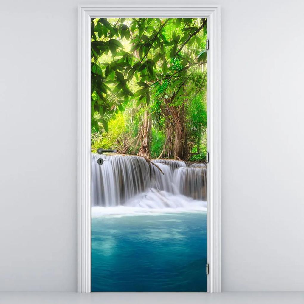 Fototapeta pentru ușă - cascada cu nivelul albastru (95x205cm)