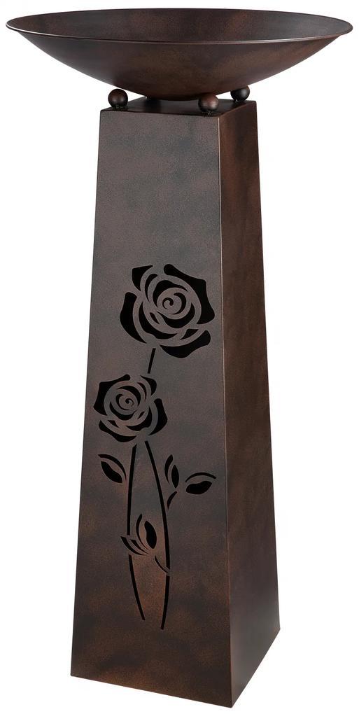 Suport flori Roses, metal, maro, 102x50 cm