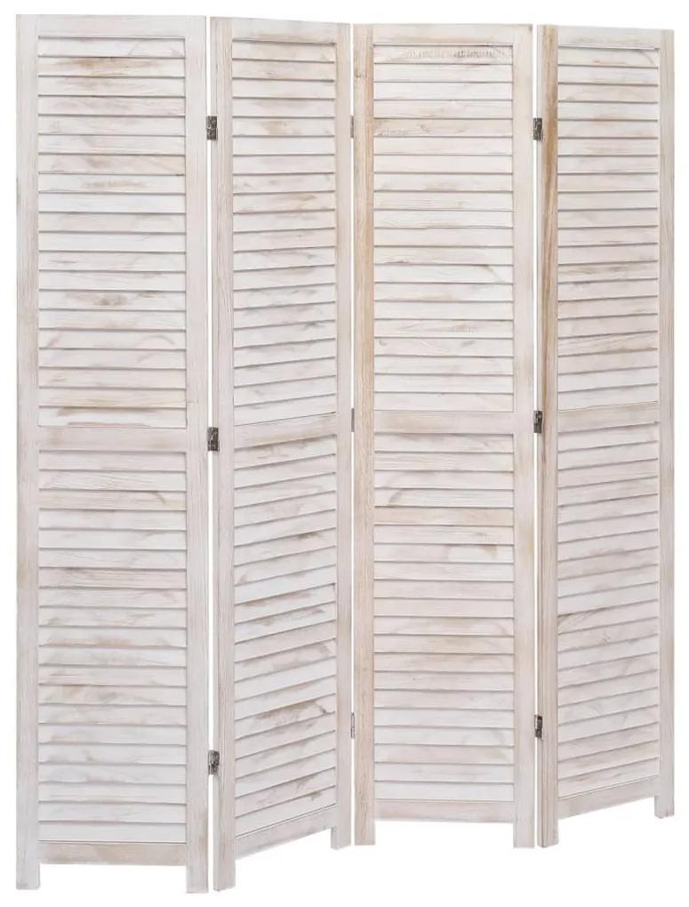 284200 vidaXL Paravan de cameră cu 4 panouri, alb, 140 x 165 cm, lemn