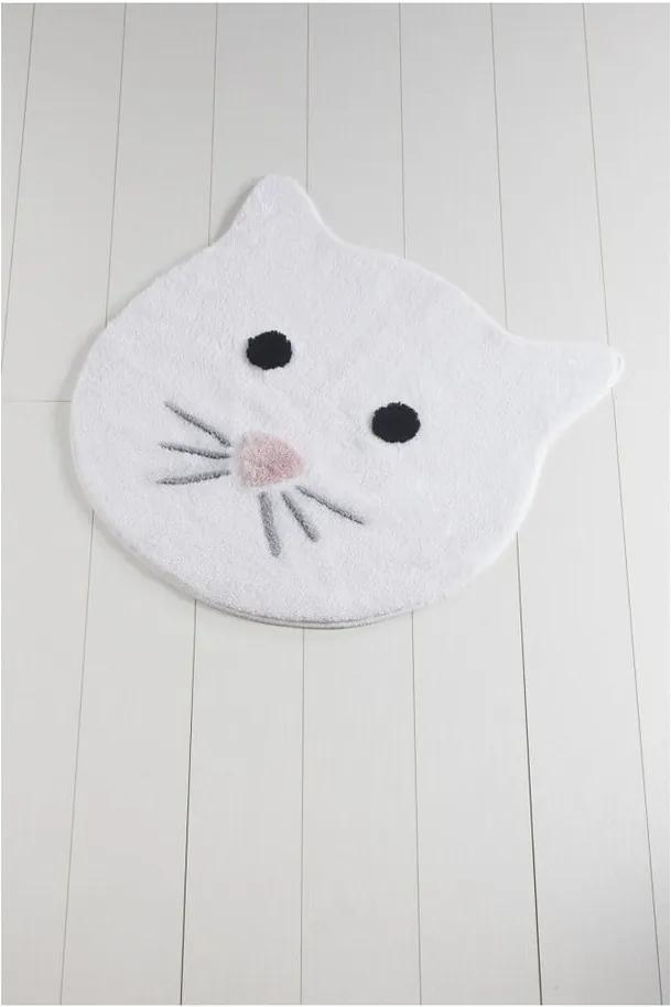 Covor de baie Cat, ⌀ 90 cm, alb