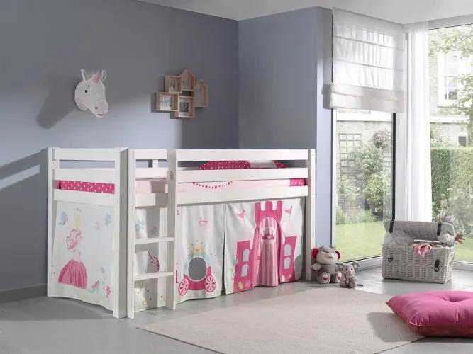 Pat etajat din lemn de pin, cu spatiu de joaca pentru copii Pino Princess Alb, 200 x 90 cm