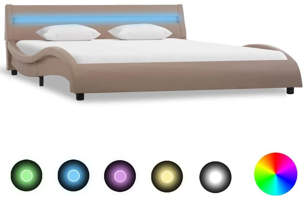 285699 vidaXL Cadru de pat cu LED, cappuccino, 140 x 200 cm, piele ecologică