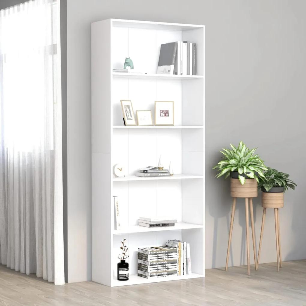 801026 vidaXL Bibliotecă cu 5 rafturi, alb, 80 x 30 x 189 cm, PAL