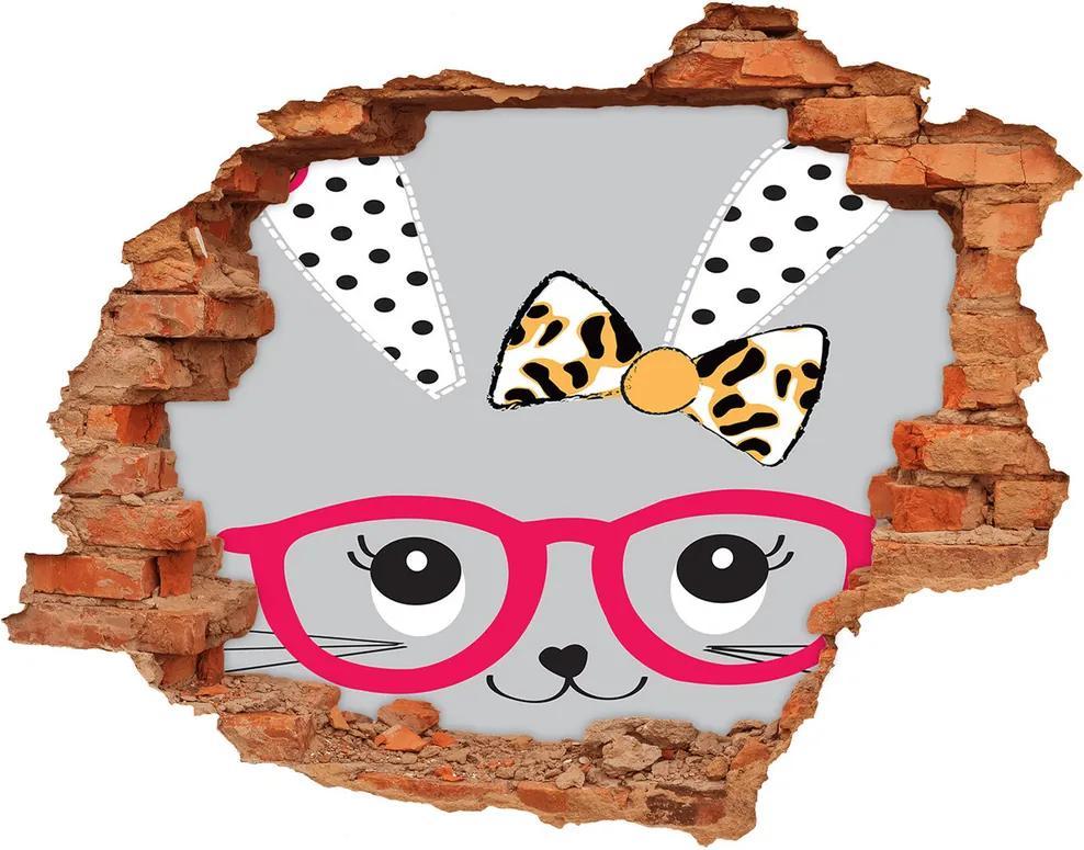 Autocolant de perete gaură 3D Iepure cu ochelari
