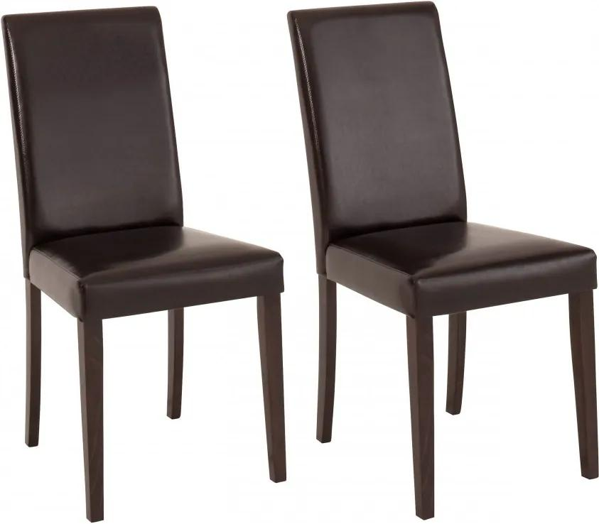 Set de 2 scaune Lucca piele sintetica/lemn masiv de pin, maro inchis, 43 x 56 x 92 cm