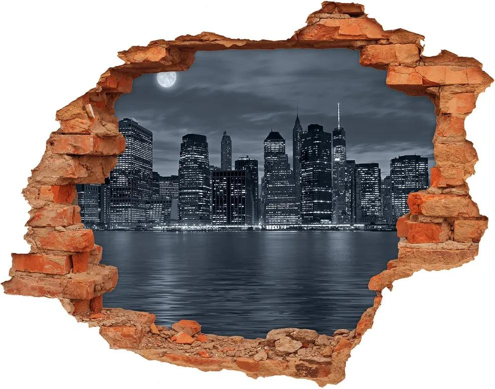 Autocolant 3D gaura cu priveliște New York pe timp de noapte