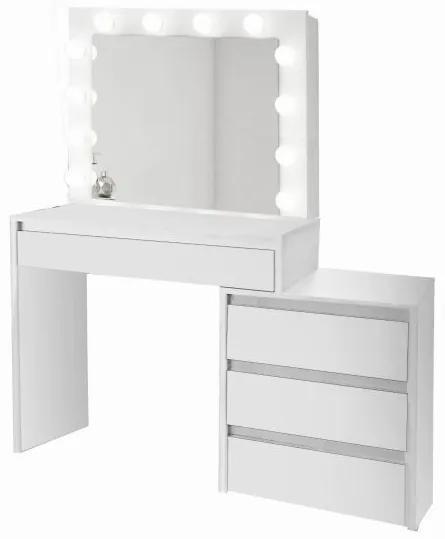 Masa de toaleta/machiaj, alba, cu oglinda si LED-uri, 115x43x145 cm