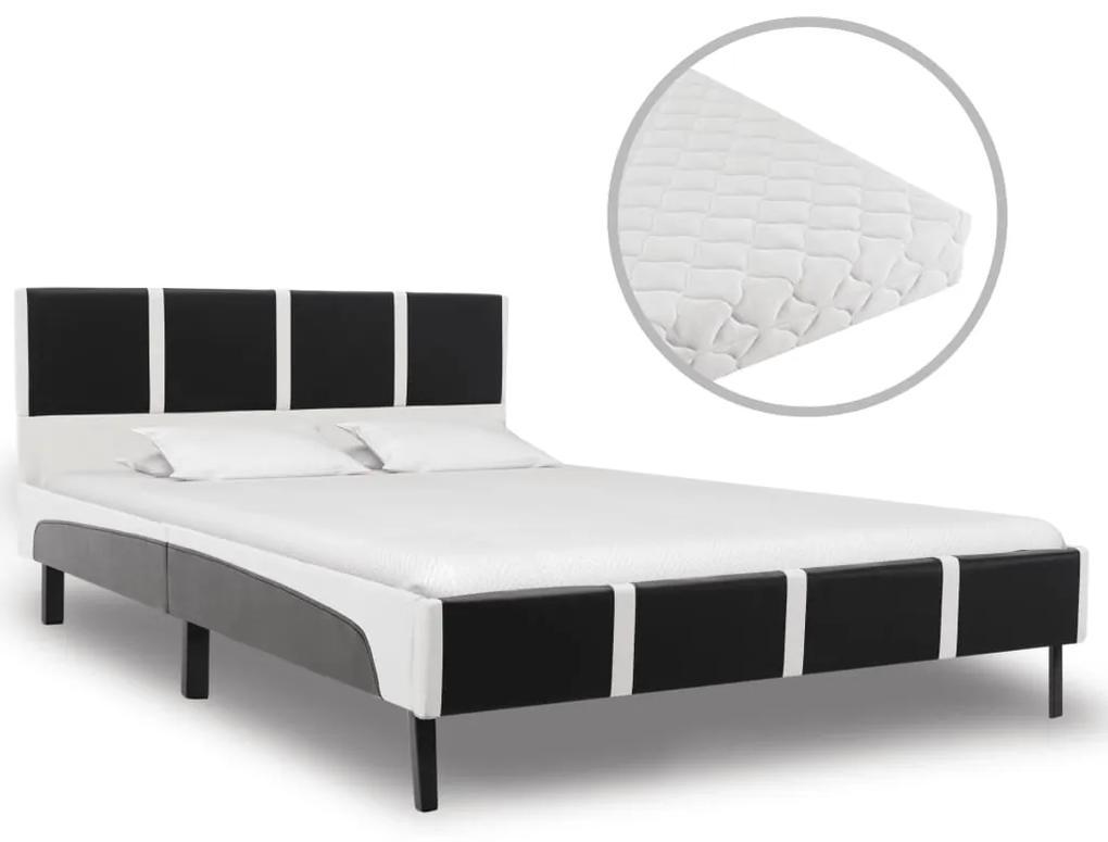 277532 vidaXL Pat cu saltea, negru și alb, 140 x 200 cm, piele ecologică