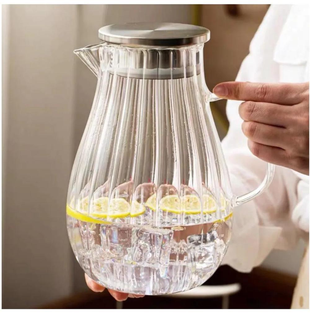 Carafa din sticla Borsilicata, cu maner din sticla, 1.5 Litri