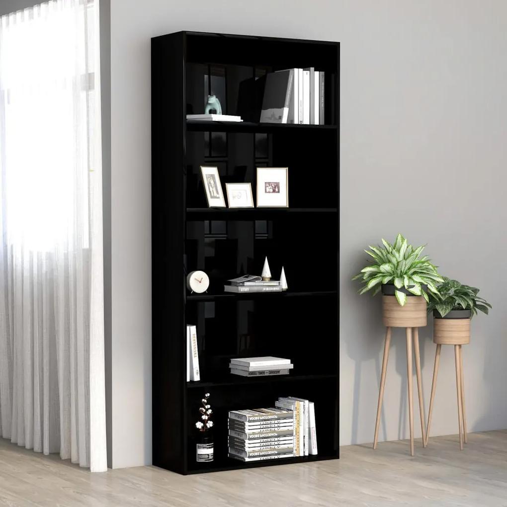 801033 vidaXL Bibliotecă cu 5 rafturi, negru extralucios, 80x30x189 cm, PAL