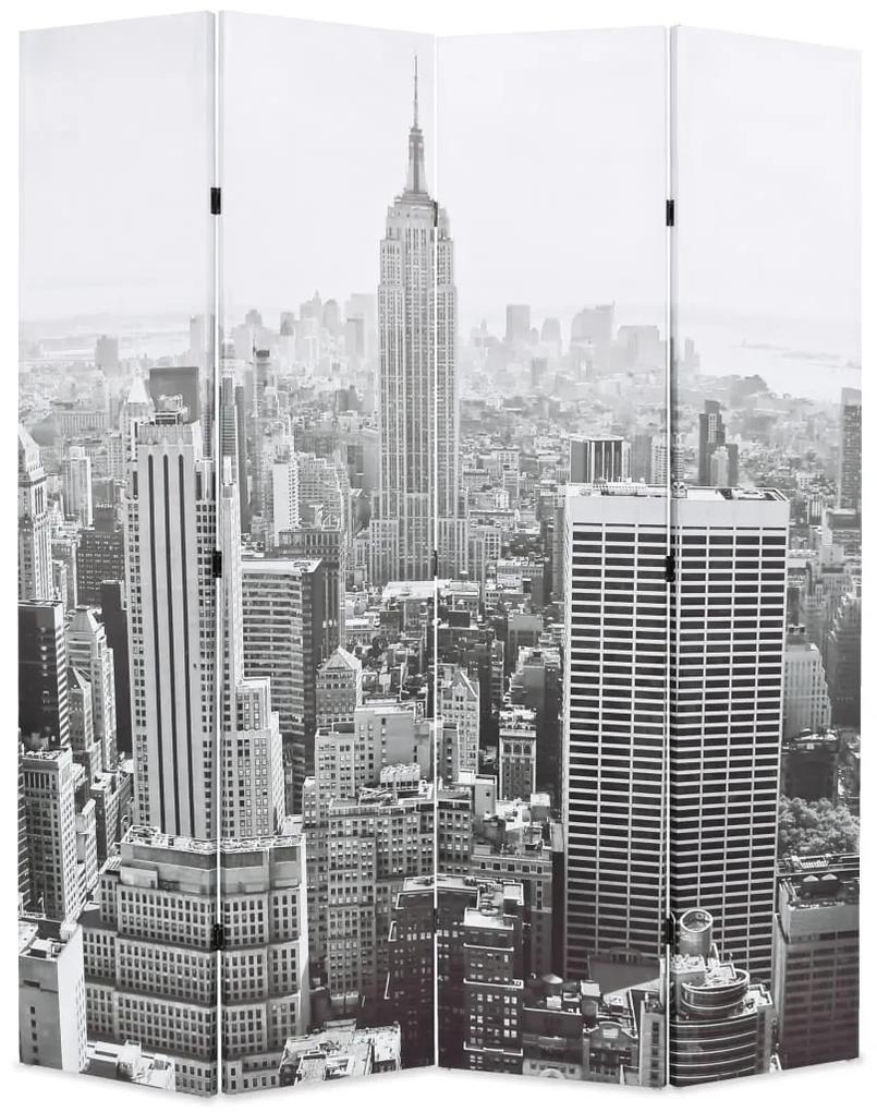 245858 vidaXL Paravan cameră pliabil, 160x170 cm, New York pe zi, alb/negru