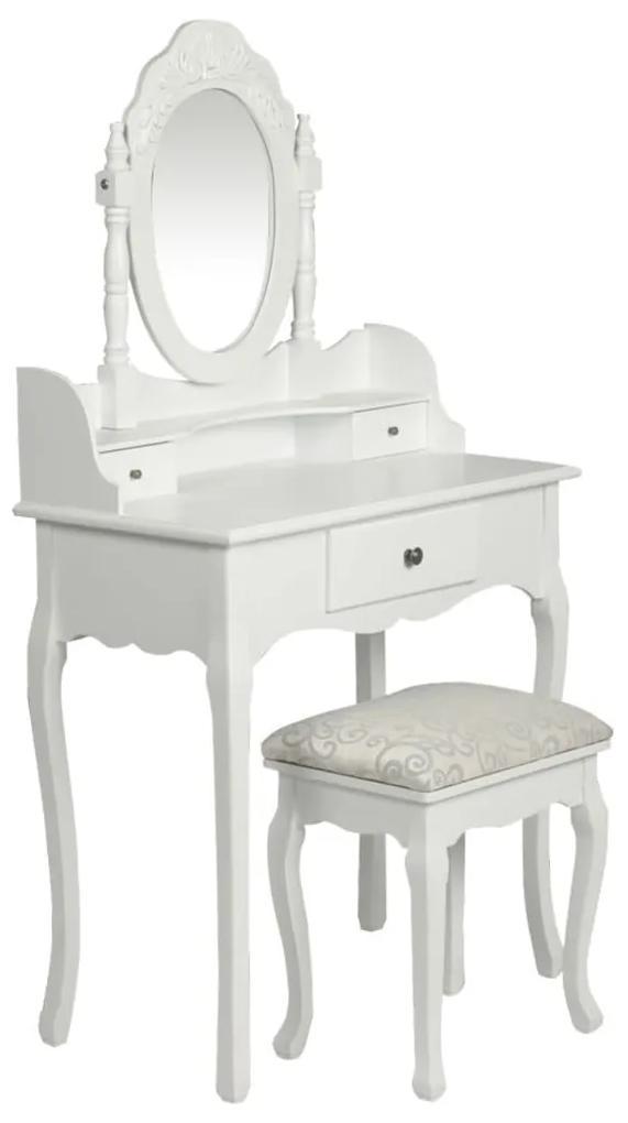 60558 vidaXL Masă de toaletă cu oglindă și taburet, alb