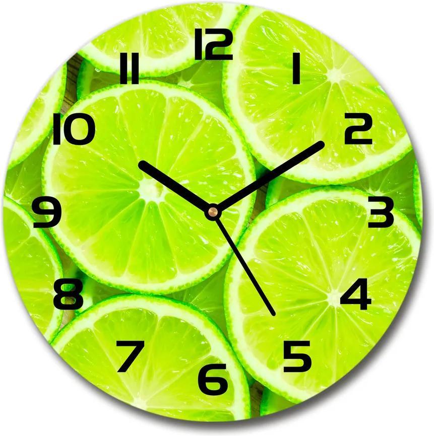 Ceas din sticlă rotund Lămâi verzi