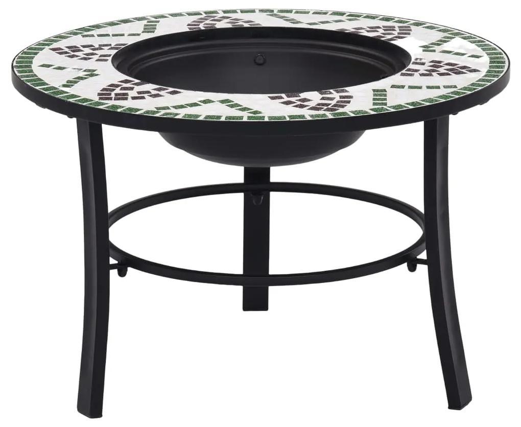 46722 vidaXL Vatră de foc cu mozaic, verde, 68 cm, ceramică