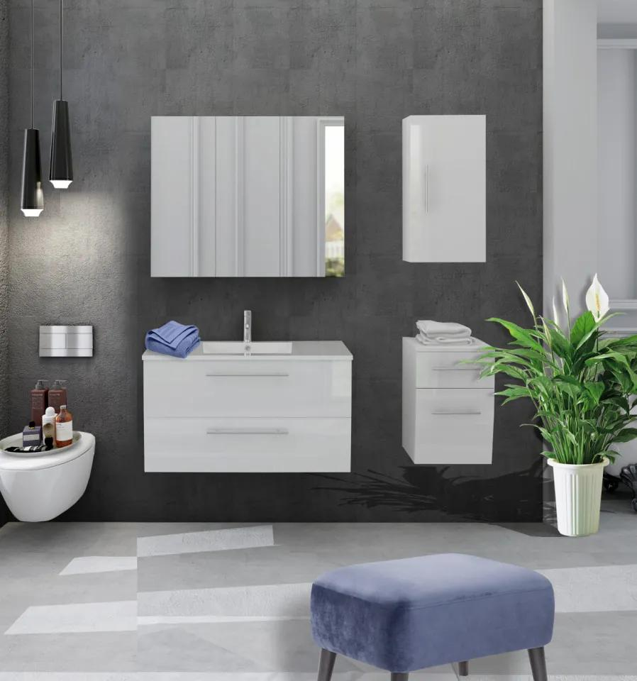 Set 4 piese mobilier pentru baie, alb, 90 cm