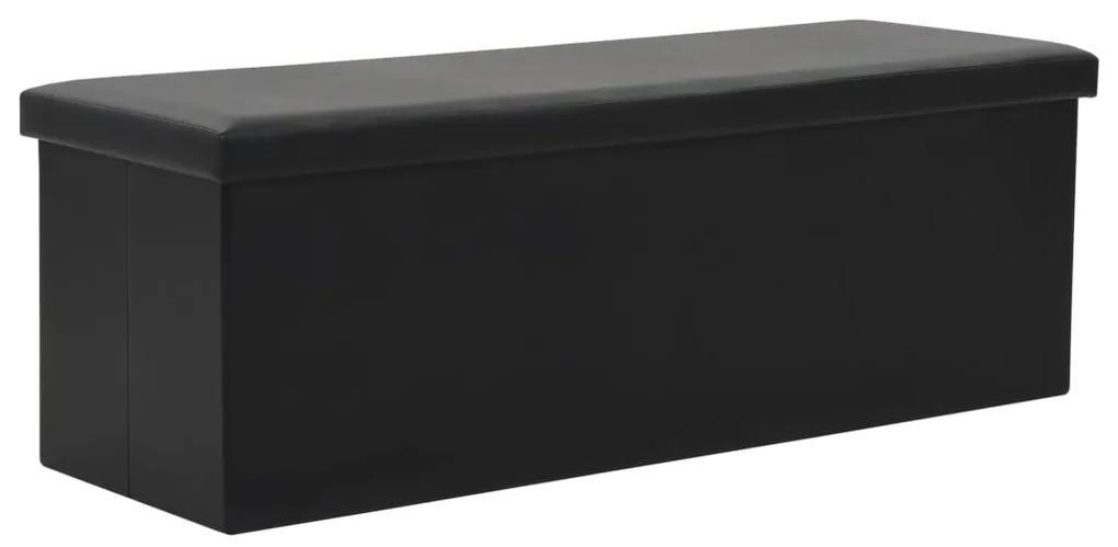 247087 vidaXL Bancă depozitare pliabilă, imitație piele, 110x38x38cm, negru