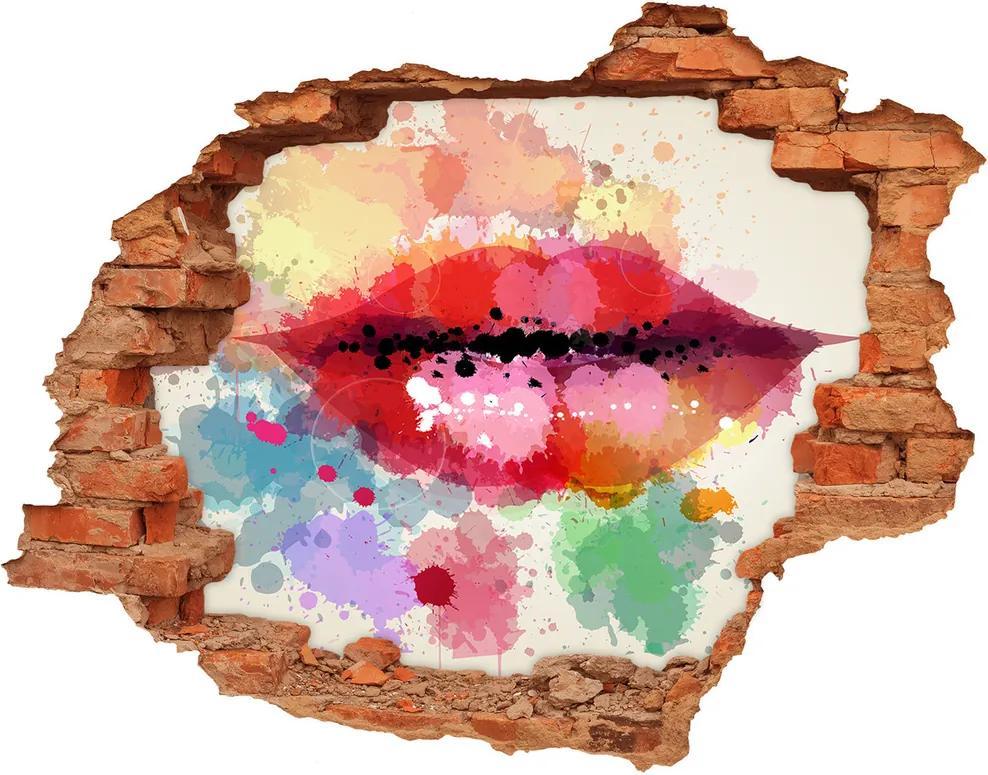 Fototapet 3D gaură în perete Buzele colorate