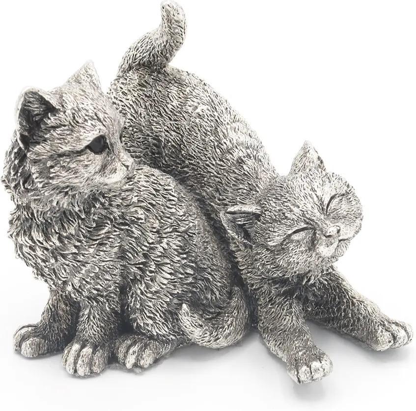 Decoratiune Pisici jucandu-se Portelan Argint