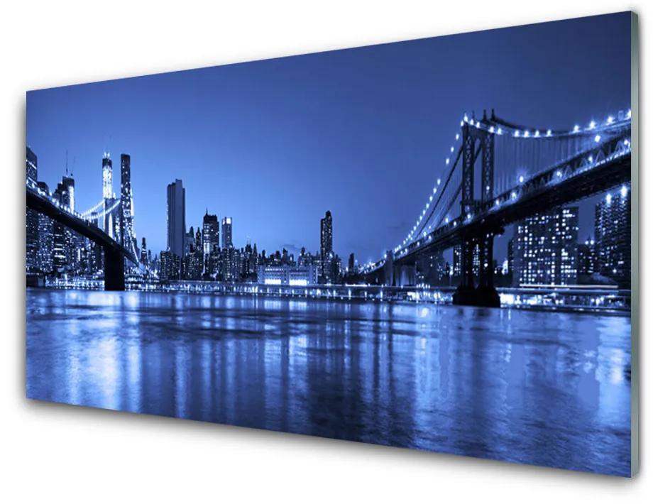 Tablou pe sticla acrilica Bridge City Arhitectura Purple