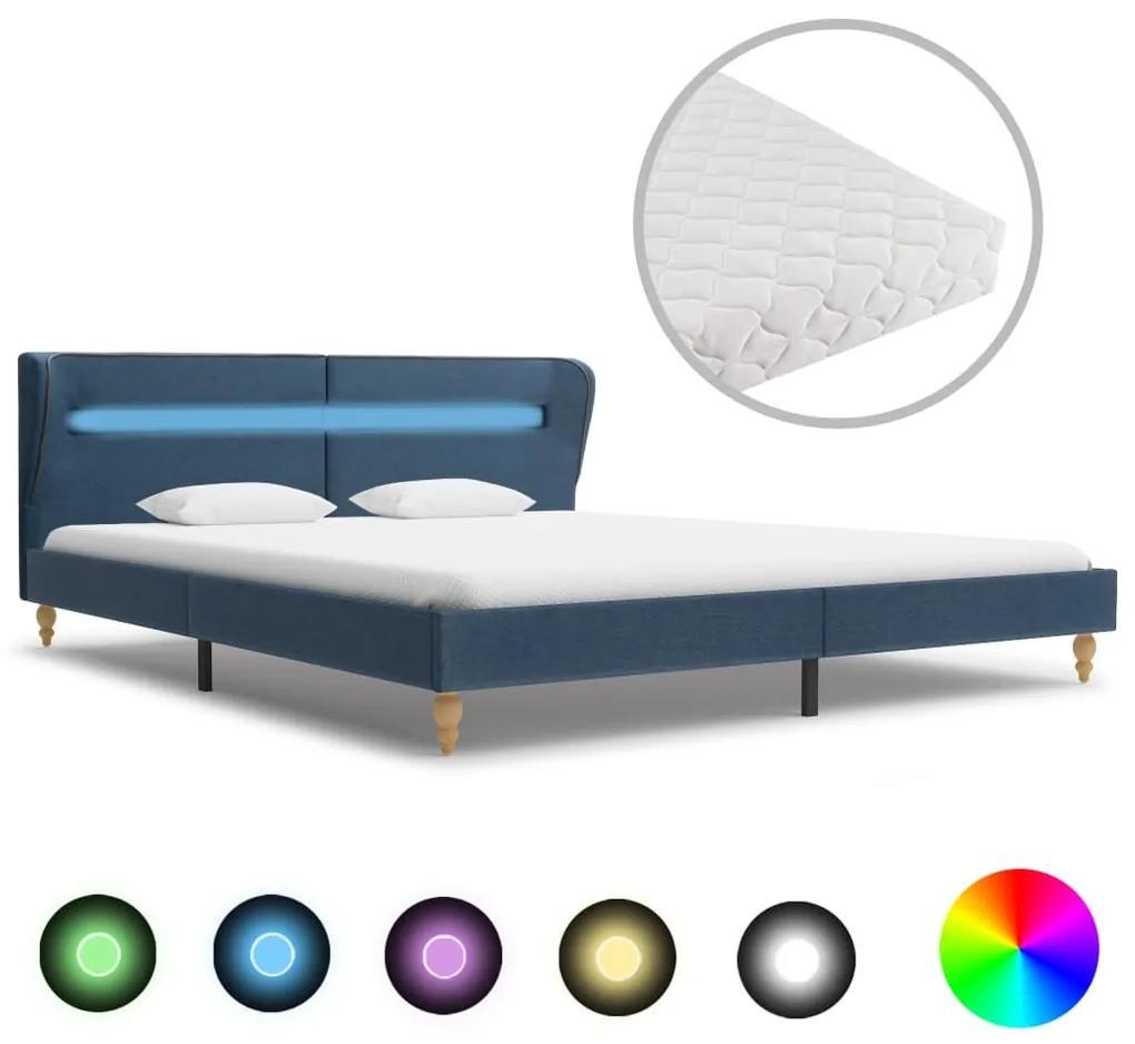 278369 vidaXL Pat cu LED și saltea, albastru, 180 x 200 cm, material textil