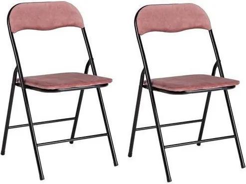 Set de 2 scaune Amal, pliabile, roz