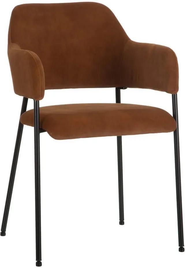 Scaun dining din textil maro Brown Dining Chair