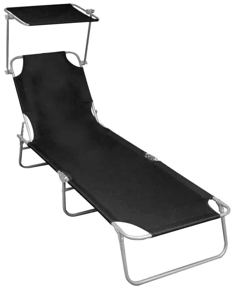 47770 vidaXL Șezlong pliabil cu copertină, negru, aluminiu