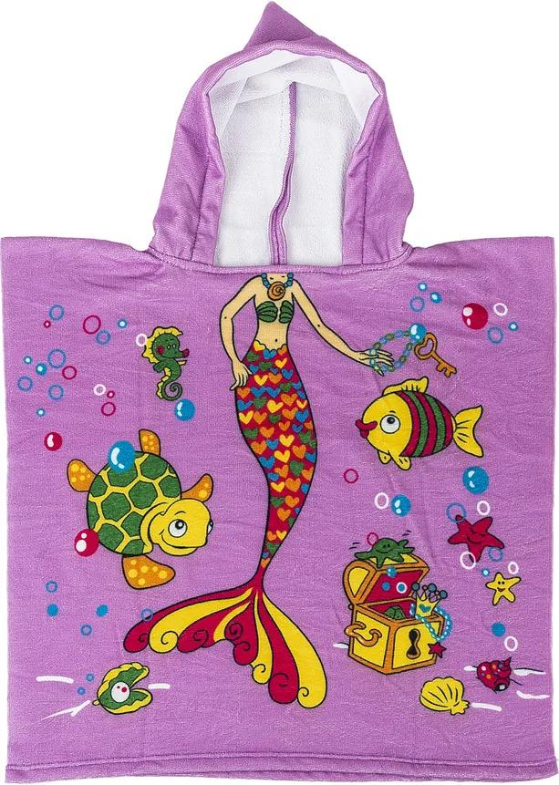 Poncho de copii, Sirenă, 60 x 120 cm