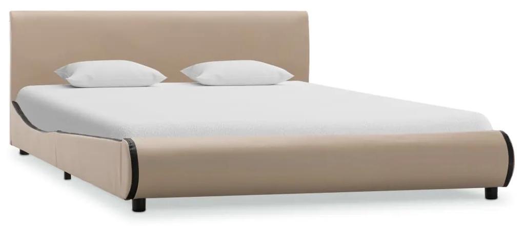 285010 vidaXL Cadru de pat, cappuccino, 120 x 200 cm, piele ecologică