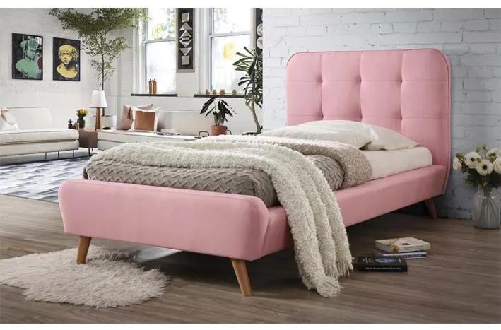 Pat tapitat Tiffany roz - 90x200 cm