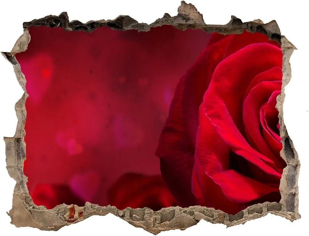 Autocolant de perete gaură 3D Inima trandafir rosu