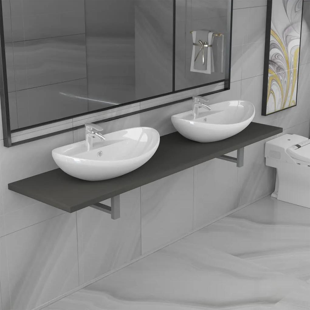279392 vidaXL Set mobilier de baie din trei piese, gri, ceramică