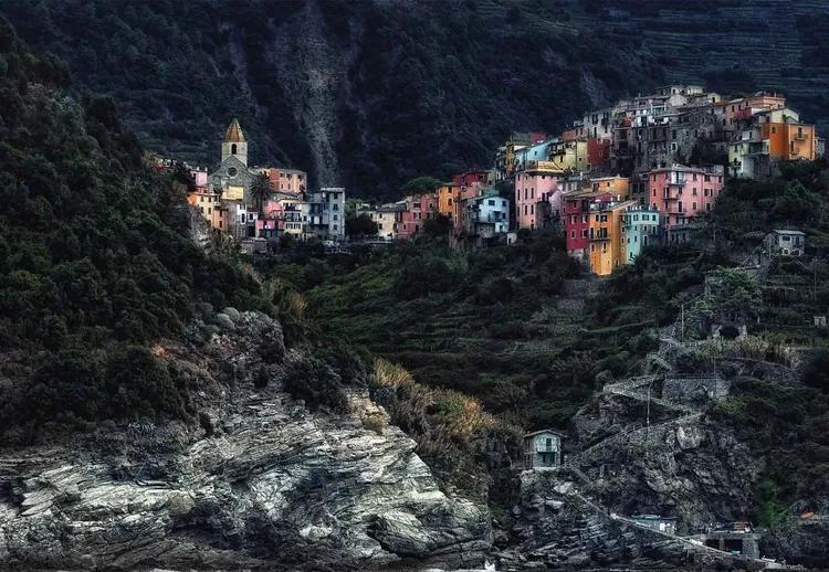 Village On The Rocks Fototapet, (254 x 184 cm)