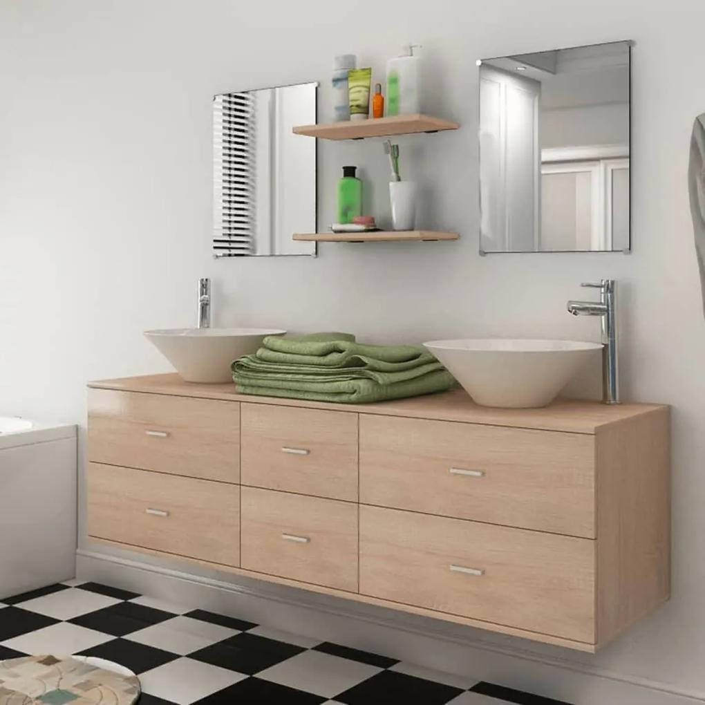 273690 vidaXL Set mobilier baie 9 piese cu chiuvete și robinete incluse, Bej
