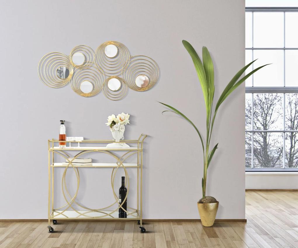 Masa mobila, fier MDF oglinda, auriu, 80X40X80 cm