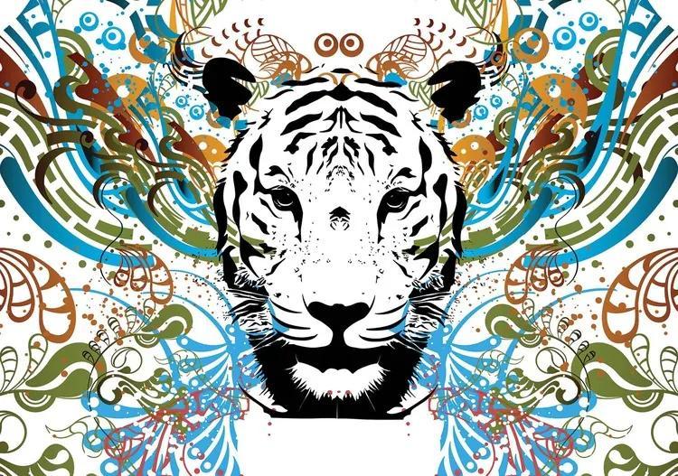 Tiger Abstract Fototapet, (312 x 219 cm)